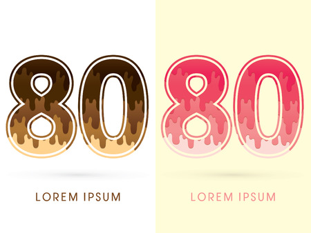 melt: 80 Font Number, Chocolate and strawberry melt graphic vector