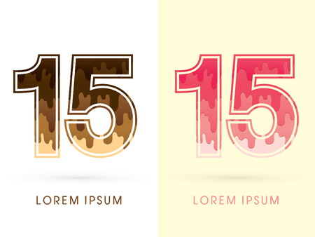 melt: 15 Font Number, Chocolate and strawberry melt graphic vector