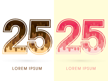 melt: 25 Font Number, Chocolate and strawberry melt graphic vector