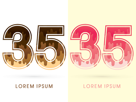 melt: 35 Font Number, Chocolate and strawberry melt graphic vector