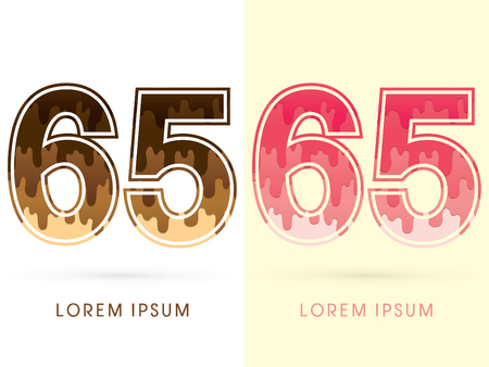 65: 65 Font Number, Chocolate and strawberry melt graphic vector