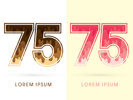 melt: 75 Font Number, Chocolate and strawberry melt graphic vector Illustration