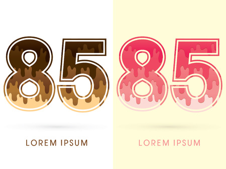 melt: 85 Font Number, Chocolate and strawberry melt graphic vector