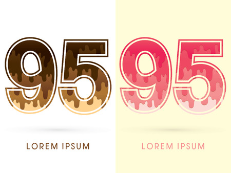 95: 95 Font Number, Chocolate and strawberry melt graphic vector Illustration