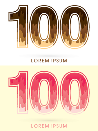 melt: 100 Font Number, Chocolate and strawberry melt graphic vector