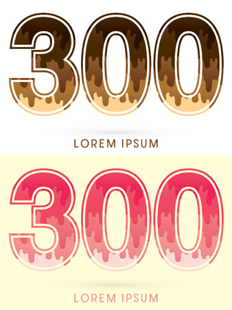 melt: 300 Font Number, Chocolate and strawberry melt graphic vector