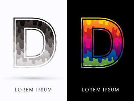 character design: D Font , Colors and black melt graphic vector. Illustration