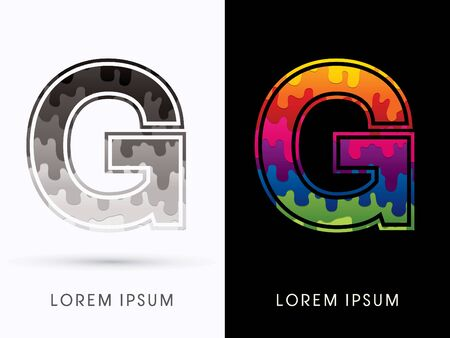 liquid g: G Font , Colors and black melt graphic vector. Illustration