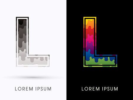 L Font , Colors and black melt graphic vector.