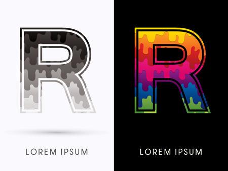 melt: R Font , Colors and black melt graphic vector. Illustration