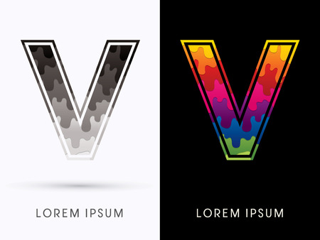 melt: V Font , Colors and black melt graphic vector. Illustration