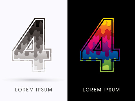 melt: 4 Font , Colors and black melt graphic vector.