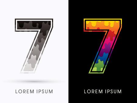 melt: 7 Font , Colors and black melt graphic vector.
