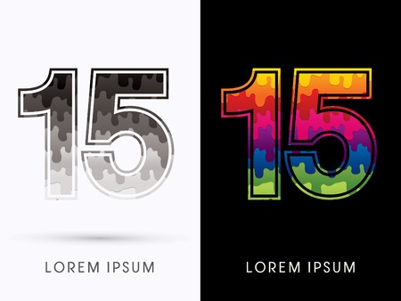 15: 15 Font , Colors and black melt graphic vector