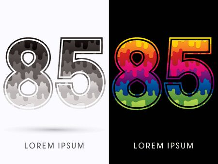 cream color: 85  Font , Colors and black melt graphic vector Illustration