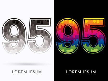 95: 95  Font , Colors and black melt graphic vector Illustration