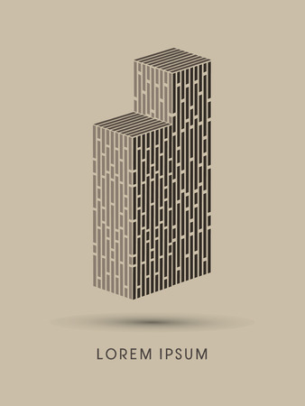 twin: Twin towers Abstract construction, design graphic vector Illustration