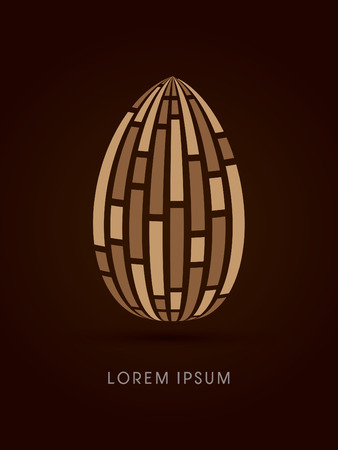 sculpture: Almond abstract sculpture, natural concept, abstract construction design graphic vector Illustration