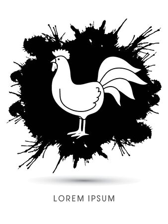 cocky: Chicken designed on splash ink background graphic vector