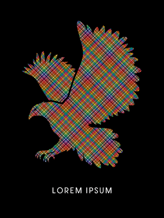 osprey: Eagle flying designed using colorful pixels graphic vector. Illustration