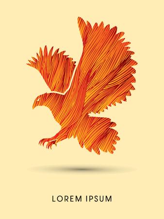 osprey: Eagle flying designed using fire grunge brush graphic vector.