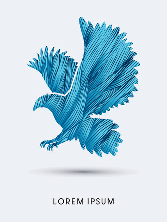 osprey: Eagle flying designed using blue grunge brush graphic vector.