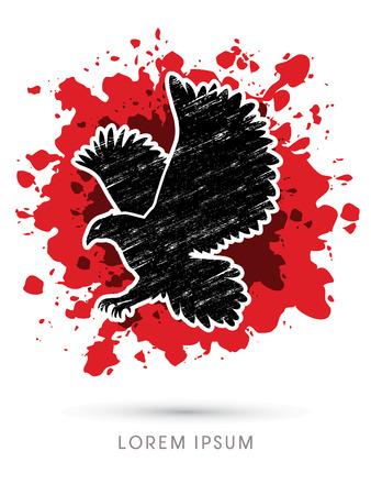 osprey: Eagle flying designed using grunge brush on splash blood background graphic vector.