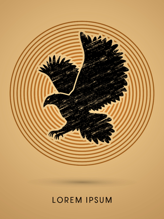 osprey: Eagle flying designed using grunge brush on line circle background graphic vector. Illustration