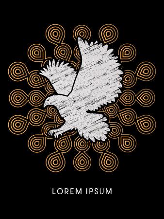 osprey: Eagle flying designed using grunge brush on fireworks background graphic vector.