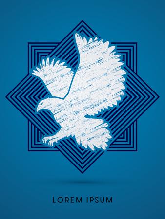 osprey: Eagle flying designed using grunge brush on line square background graphic vector.