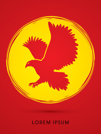 osprey: Eagle flying designed on grunge circle background graphic vector.