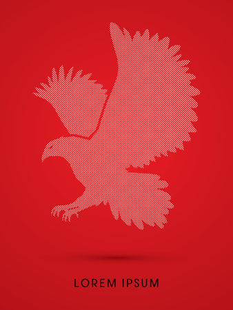 osprey: Eagle flying designed using dot and spots graphic vector.