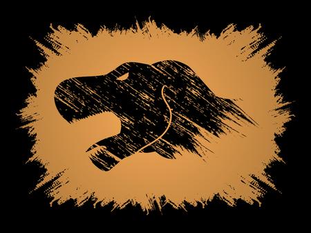Head T rex dinosaur designed using grunge brush graphic vector