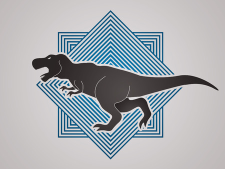 t  rex: T rex dinosaur designed on line square background graphic vector Illustration