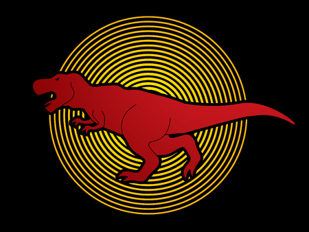 t  rex: T rex dinosaur designed on circle light background graphic vector