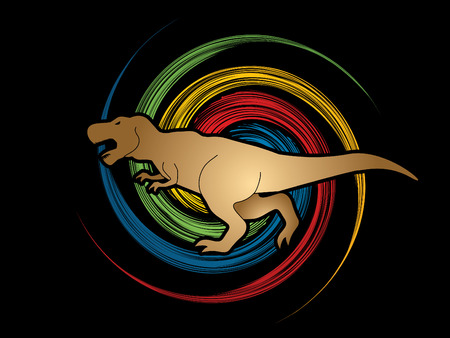 t  rex: T rex dinosaur designed on spin wheel background graphic vector Illustration