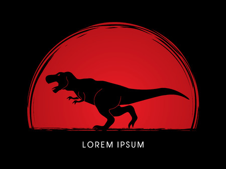 T rex dinosaur designed on sunset graphic vector