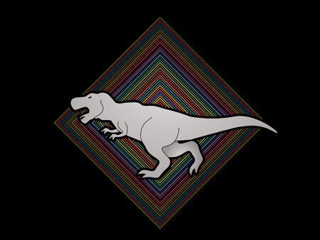 t  rex: T rex dinosaur designed on colorful square background graphic vector