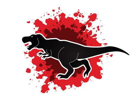 t background: T rex dinosaur designed on splash blood background graphic vector