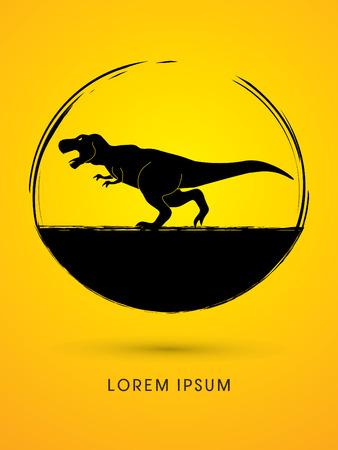 T rex dinosaur designed using grunge brush graphic vector