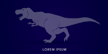 t  rex: T rex dinosaur designed using dots graphic vector
