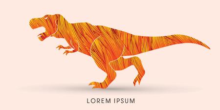 rex: T rex dinosaur designed using red grunge brush graphic vector