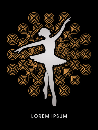 choreography: Ballet dance designed on fireworks background graphic vector.