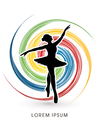 ballet dance: Ballet dance designed on colorful spin wheel background graphic vector.