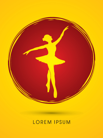 ballet dance: Ballet dance designed using on grunge cycle background graphic vector.