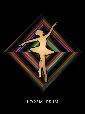 choreography: Ballet dance designed using on colorful line square background graphic vector.