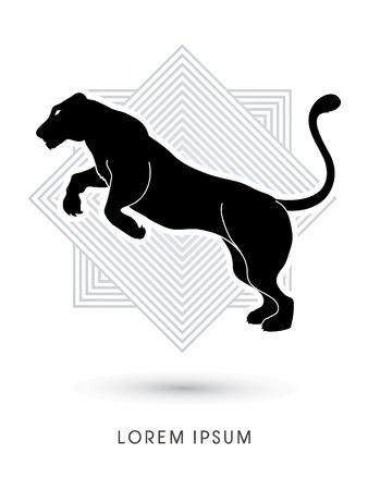 silueta tigre: Pantera o Leona salto diseñada en la línea de fondo cuadrado de gráficos vectoriales.