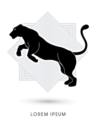 panther: Panther or Lioness jumping designed on line square background graphic vector.