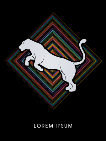 lioness: Panther or Lioness jumping designed on colorful square background graphic vector.