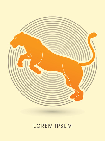 lioness: Panther or Lioness jumping designed on line cycle background graphic vector.